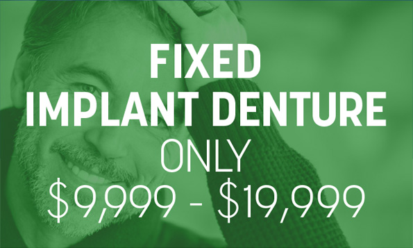 A man smiles happily beneath a special offer on fixed implant dentures at Splendid Dental Care Bellaire