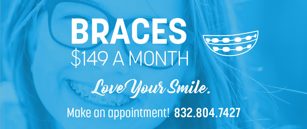 A young woman with braces smiles underneath a special offer on braces at Splendid Dental Care Bellaire