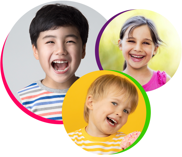 Two boys and a girl show their teeth by smiling when thinking about pediatric dentistry in Bellaire, TX